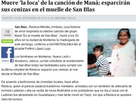 Murió la loca de San Blas, de la canción de Maná